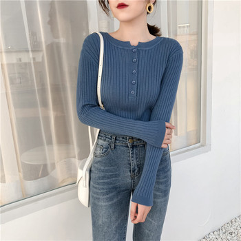 Ailegogo 2020 Autumn Winter Spring Women Pullovers Sweater Knitted  Elegant Buttons Casual Ladies Jumpers Bottoming SW9065 1