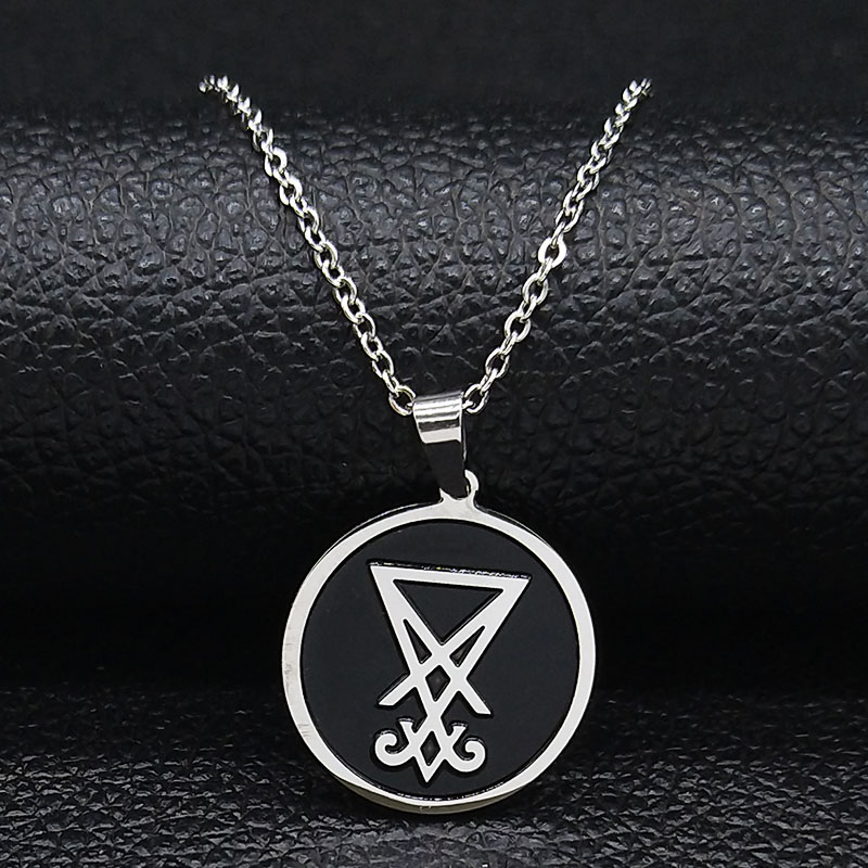 Red Black Elfasio Mens Demon Stainless Steel Pendant Necklace Seal of Satan Sigil of Lucifer The Devils Inverted Cross Chain Vintage Jewelry