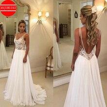 ANJURUISI 2019 Cheap Beach Wedding Dresses Lace Appliques V Neck Sexy Backless Boho Bridal Gowns A Line Robe De Mariage Chiffon