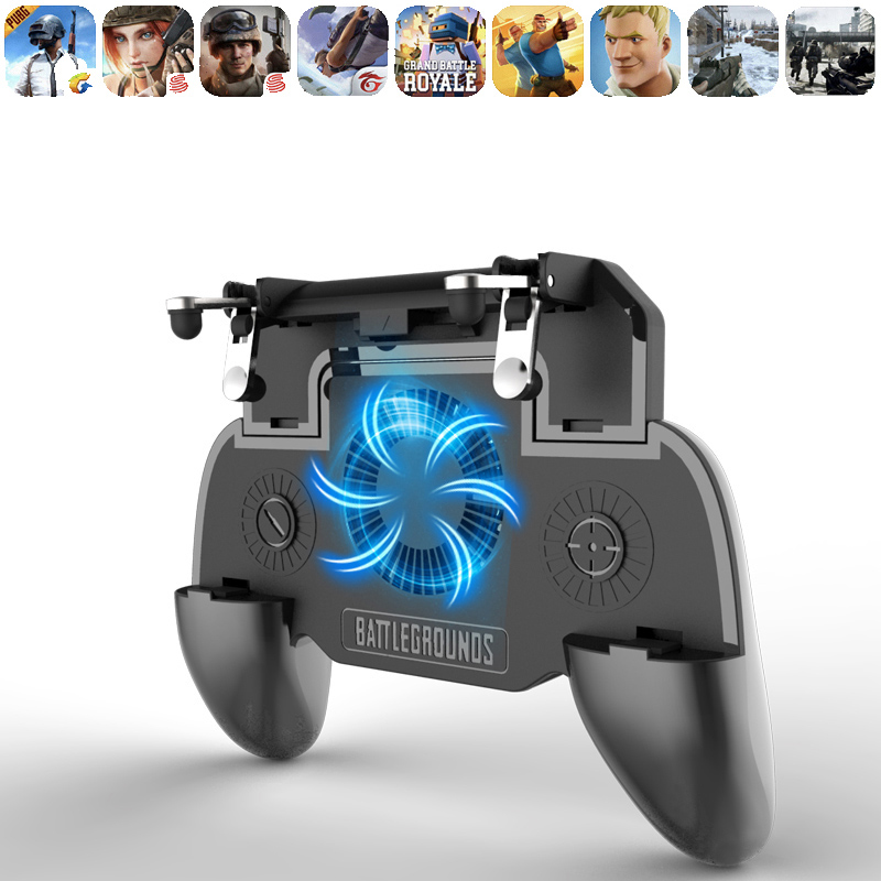 Pubg Controller Radiator Gamepads Phone Gamepad Mobile Trigger L1R1 Shooter Joystick Game Pad Holder Cooler Fan with Power Bank
