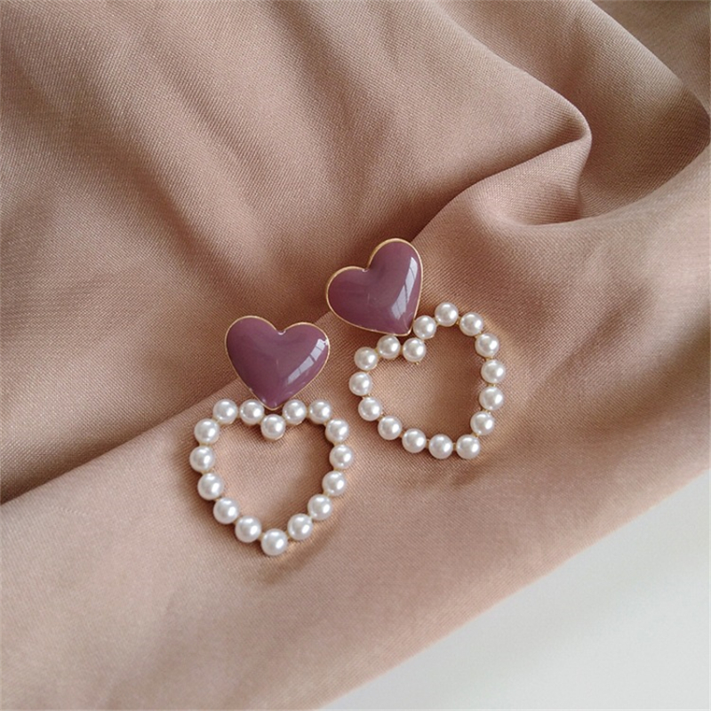 Linda mulher forma de amor brincos moda pérola brincos pêssego coração gotas de esmalte brincos do parafuso prisioneiro jóias acessórios