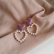 Милые женские серьги в форме сердца, модные жемчужные серьги, персиковые сердца, капли глазури, серьги-гвоздики, ювелирные изделия, аксессуа...