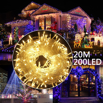 Outdoor Waterproof LED Fairy String Light 20M 200LEDS Xmas Wedding Party Holiday Garland String Lamp with Tail Plug D35 us plug eu plug 20m 200leds outdoor waterproof led string light connectable with tail plug wedding christmas party holiday d30