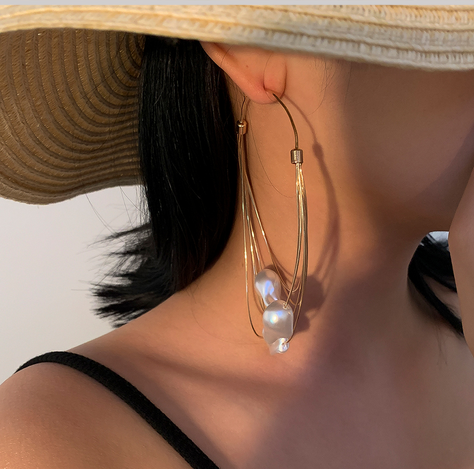 2020 модные жемчужные большие серьги кольца для женщин многослойные
