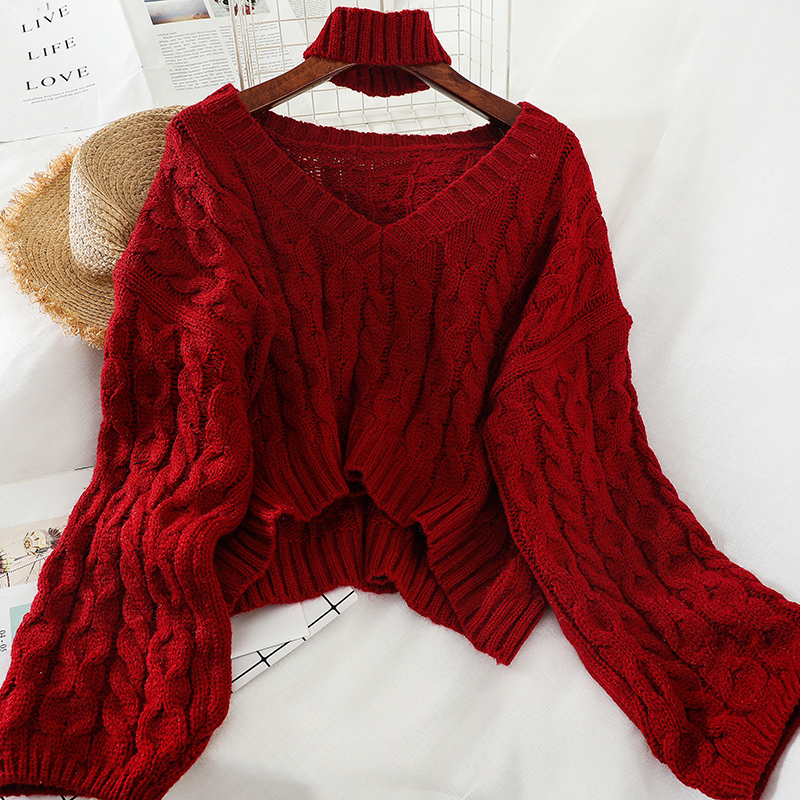 2020 Spring Autumn New Arrival Solid Color V-neck Pullover Oversized With Neck Ring Long Sleeve Office Lady Loose Casual Sweater