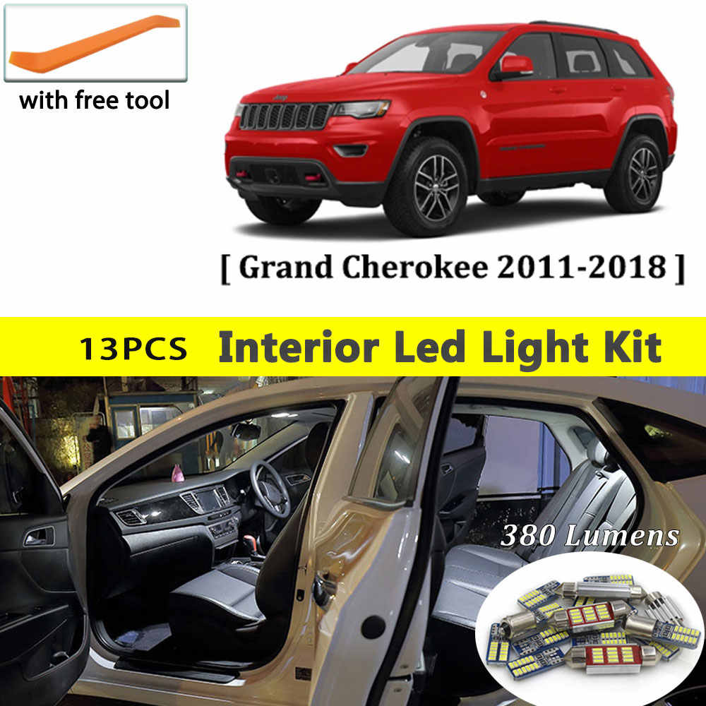13Pcs Witte Canbus led Auto interieur verlichting upgrade Kit voor 2011-2016 2017 Jeep Grand Cherokee led interieur dome Kofferbak verlichting