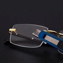 Vazrobe老眼鏡男性ガラスレンズアンチスクラッチ視度サングラス男リムレスクリスタルアンチ目の乾燥眼鏡