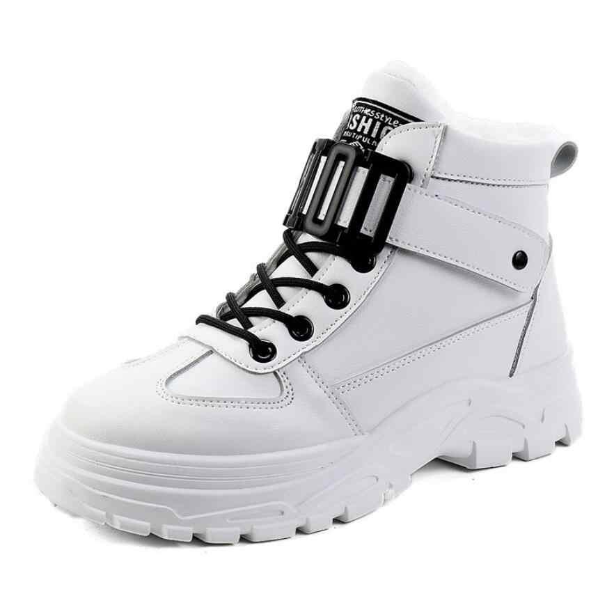 2020 kış platformu artırmak ayak bileği ayakkabı kadın peluş kar botları sıcak yuvarlak kafa gündelik ayakkabı kadın Snowboots Martin çizmeler