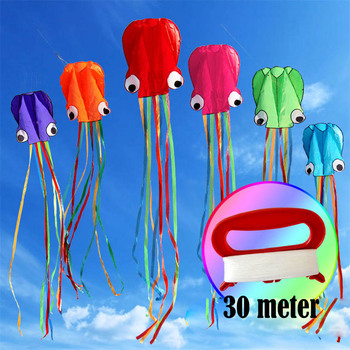 4M Octopus Kite Single Line Stunt Software Power Flying Soft 3D Kite DIY Outdoor Sport Kids Toy With 30M String Toys Easy To Fly 30m beach kite flying single line octopus kite tube shaped soft kite 3d ripstop nylon fabric