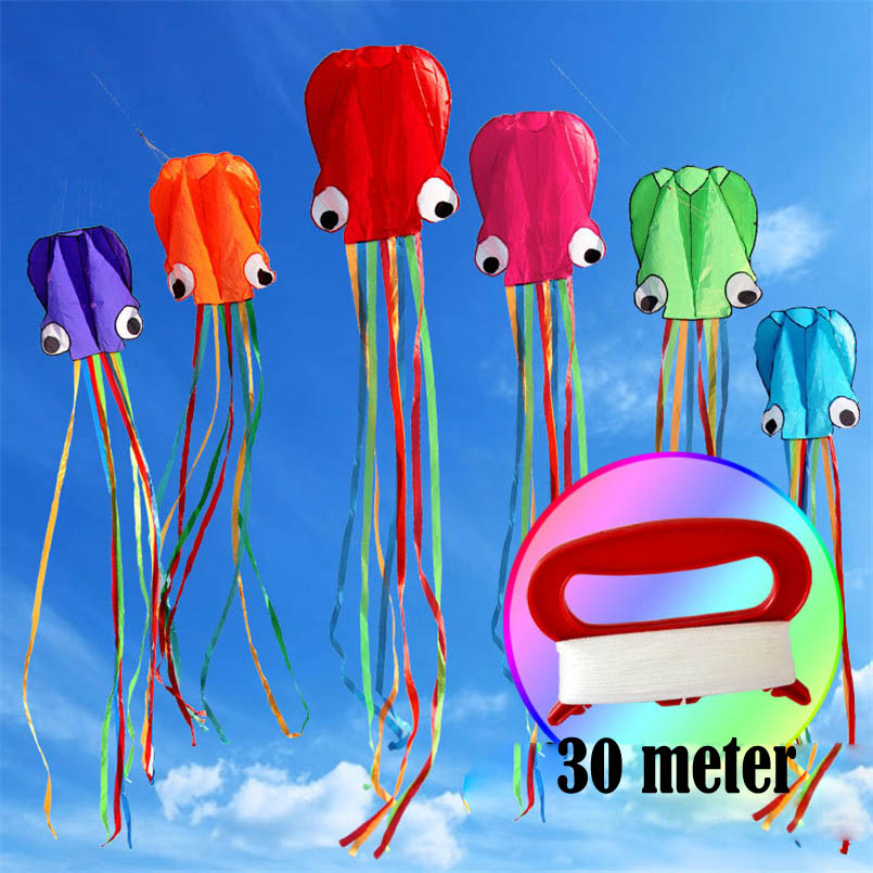 4M Octopus Kite Single Line Stunt Software Power Flying Soft 3D Kite DIY Outdoor Sport Kids Toy With 30M String Toys Easy To Fly image