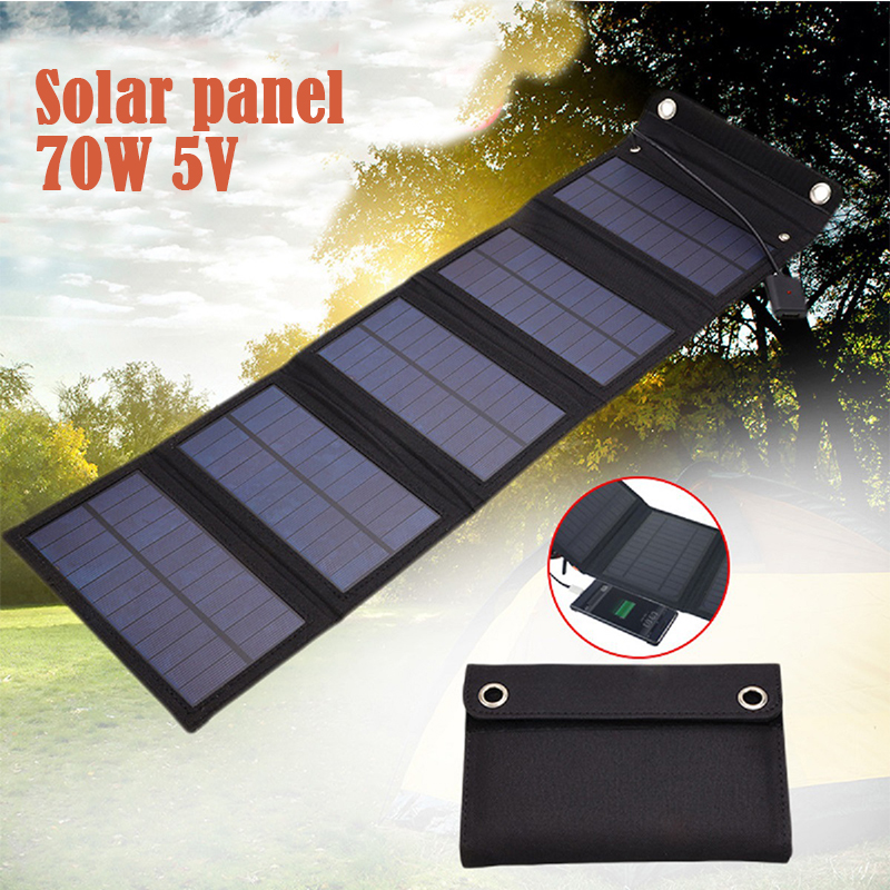70W Foldable USB Solar Panel Solar Cell Portable Folding Waterproof Solar Panel Charger Outdoor Mobile Power Battery Charger