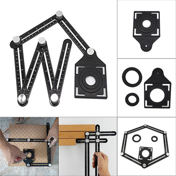 Universal Aluminum Alloy Angularizer Ruler Tile Hole Locator Adjustable Multi Angle Measuring Tool binoax aluminum alloy four sided ruler measuring instrument template angle tool mechanism slides with laser engraving
