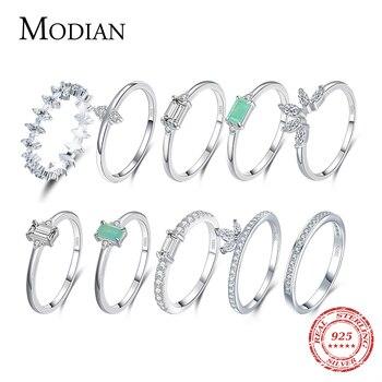 MODIAN 100% de moda de 925 Turmalina de plata fina anillos de...