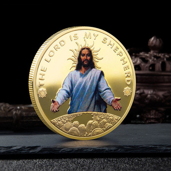 Jesus Christ Metal Commemorative Coin, Gilded Silver Coin, Religious Souvenir Coin Collection gold silver color panda commemorative coin metal crafts gifts home decoration accessories challenge coin art collection