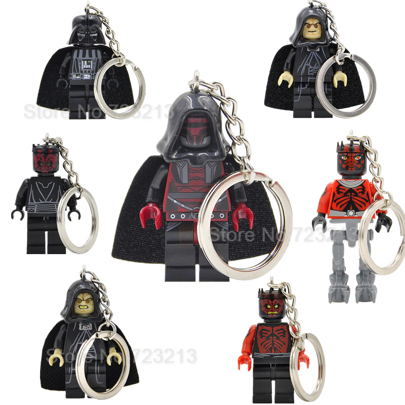 Darth Revan Vader Malgus Sidious Figure Keychain Key Ring Chain DIY Handmade Bricks Building Blocks Toys Legoing