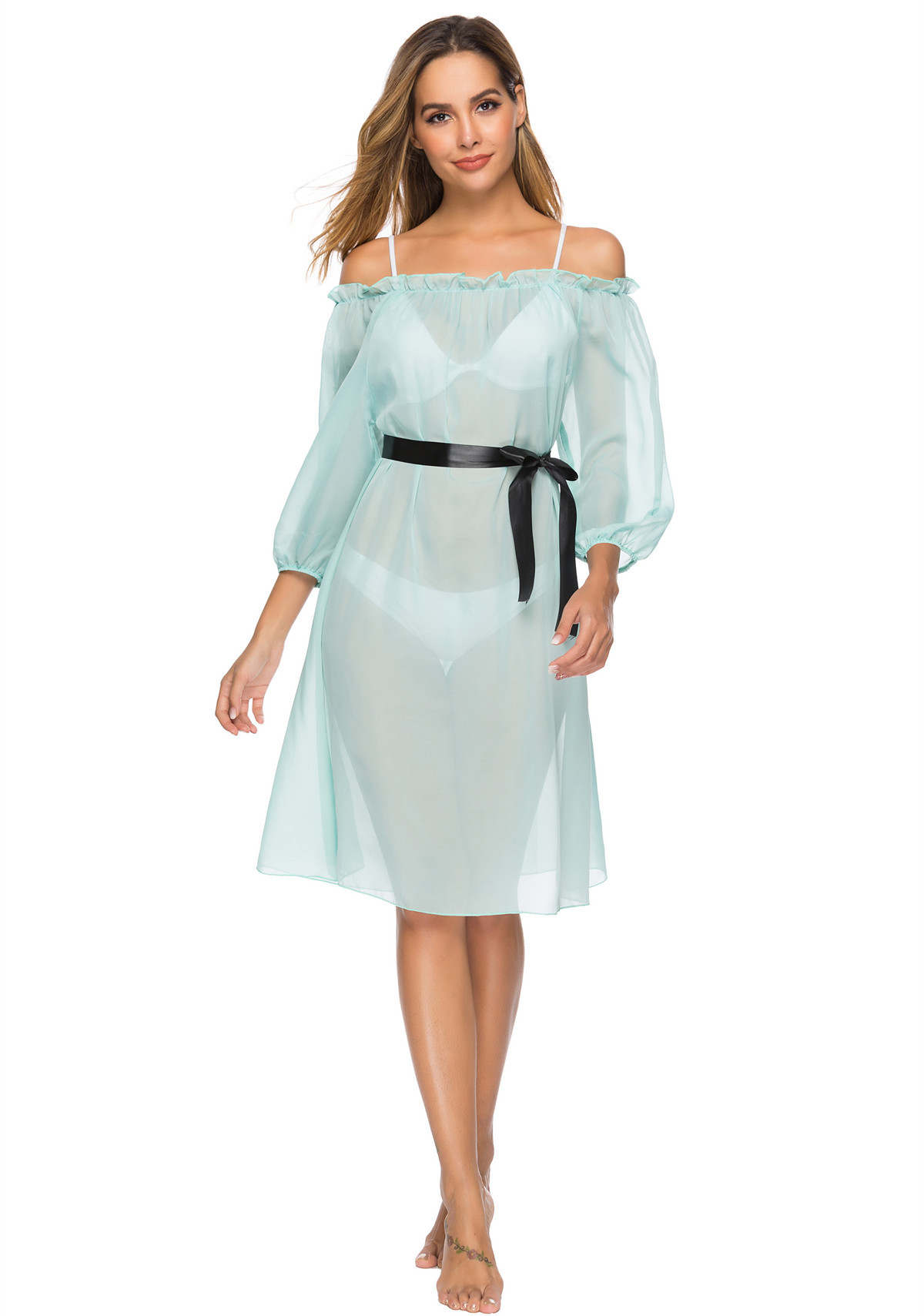 2019 New Style Horizontal Neck Flounced Chiffon Dress Europe And America Of Belt Beach Skirt