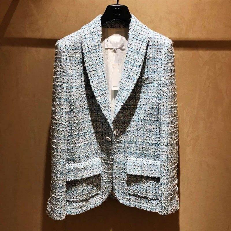 2020 Spring Womens Blaze Tweed Blue Plaid Slim Tailoring Professional Woman Thin Coat High-end Silk Lining Top Blazers Jacket