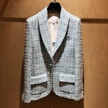 2020 Spring Womens Blaze Tweed Blue Plaid Slim Tailoring Professional Woman Thin