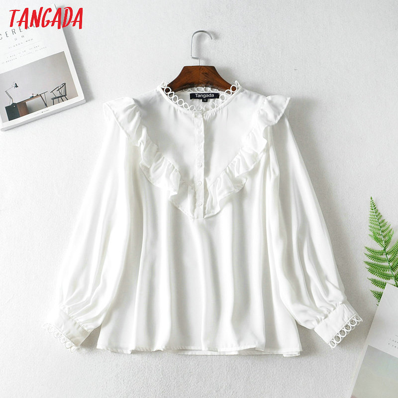 Tangada Women Ruffle White Shirts Long Sleeve Solid O-neck Elegant Office Ladies Work Wear Blouses FN114