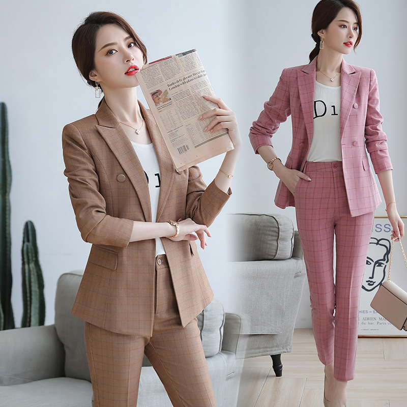 Female Elegant Women's Pink Khaki Plaid Skirt Suit Dress Blazer Costumes Jacket Outfit Suits Office Wear Uniforms 2 Piece Set
