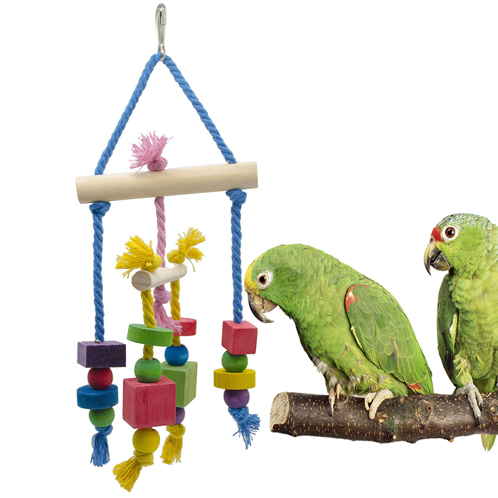 Pet Bird Cages Chewing Playing Toys Parrot Cockatiel Parakeet Colorful Wooden Blocks Pet Bird Bites Toy