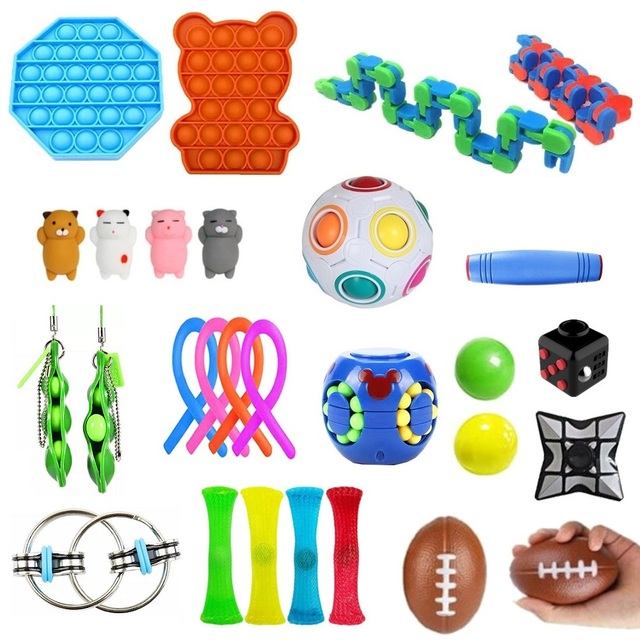 Fidget Sensory Toys Pack Pop Push Bubbles Stress Relief Fidget Toy Pack Set Toy To Relieve Children With Autism And Anxiety Gift 1