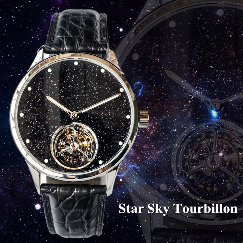 Top Luxury Star Sky Tourbillon Watch Men Real ST8230 Movement Super Luminous Hands Mens Mechanical Watches Sapphire Dial 1