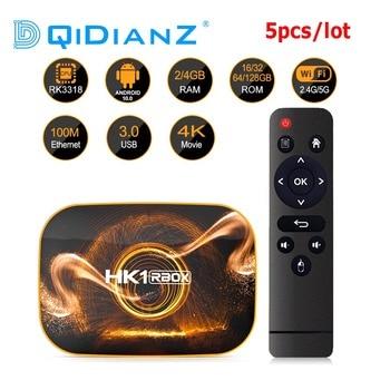 5 unids/lote 2020 nuevo HK1 RBOX R1 TV Box Android 10,0 4GB 64GB Rockchip RK3318 1080p 4K Google Play Actualización de OTA HK1 R1 Set Top Box