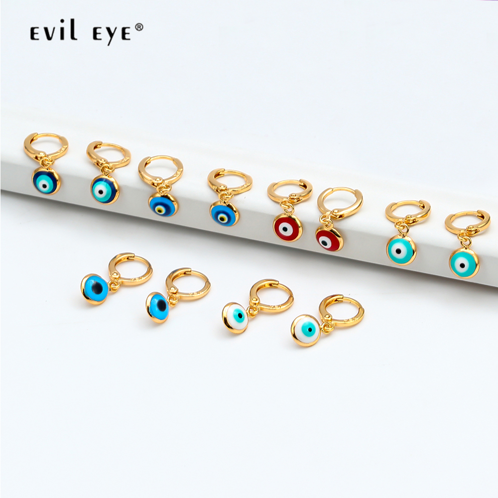 EVIL EYE Drop Earrings Gold Color Copper Hanging Red Blue Turkish Eye Dangle Earrings Fashion Jewelry for Women Ladies EY6456 image