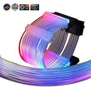 Image 4 - Psu延長ケーブルrgb、atx 24Pin gpu 8Pinストリーマpci e 6 + 2 1080pデュアル虹コード5v/12vメガバイト同期、pcケース装飾