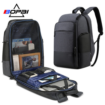 BOPAI Brand Travel Backpack Men High Capacity Multifunction USB Charging for 17inch Laptop Backpack Anti theft Business Backpack bopai usb external charge enlarge anti theft laptop backpack for school multifunction laptop bag 15 6 inch men backpack travel