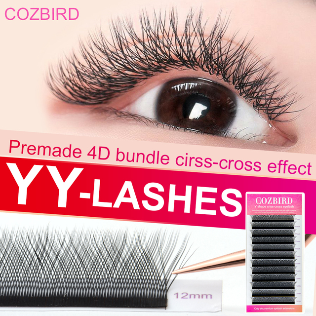 COZBIRD YY LASH Y shape eyelash extension supplies 0.07 Easy fanning Volume lash Flase lashes Faux mink 12 rows cilios