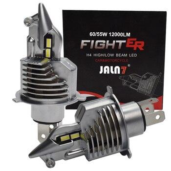 JALN7 Fighter H4 ledowa żarówka do reflektorów 9003 HS1 HB2 12V 24V 60/55W motocykl samochodowy LED żarówka Hilo wiązki lampa samochodowa firmą 6500K