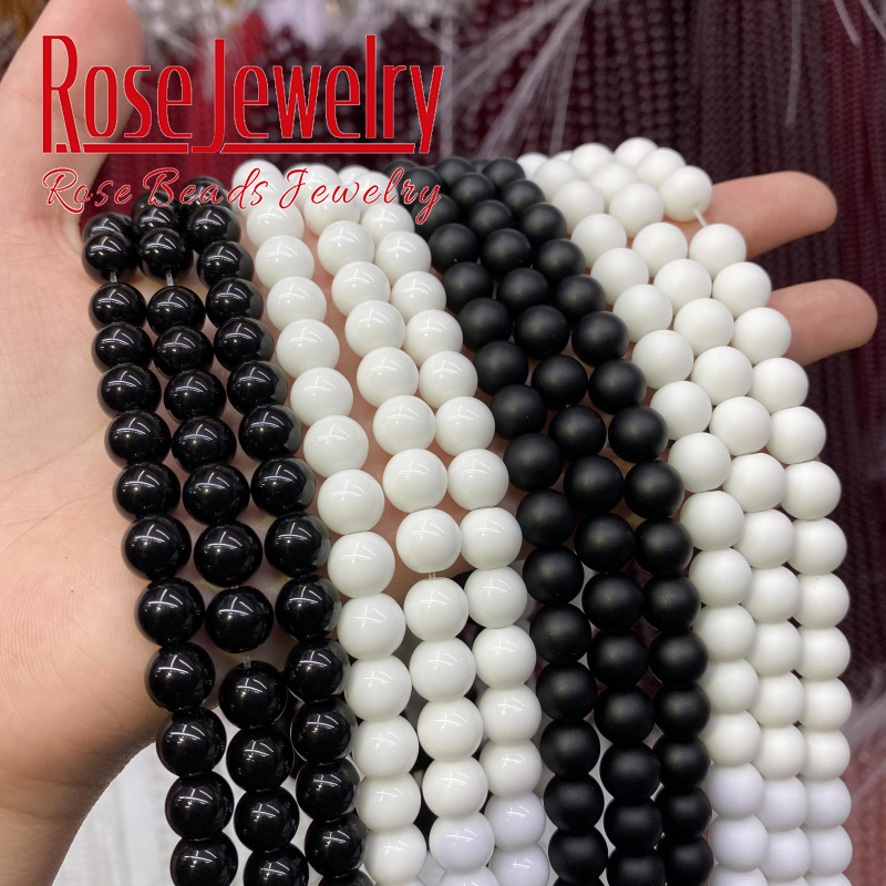 Natural White Black Dull Polished Matte Onyx Agates Beads Round Loose Beads For Jewelry Making DIY Bracelets 15
