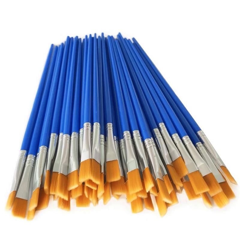 Paint Brushes Set 50 Pcs Kids Nylon Flat Hair Small Oil Watercolor Artist Painting Kits Bulk For Children