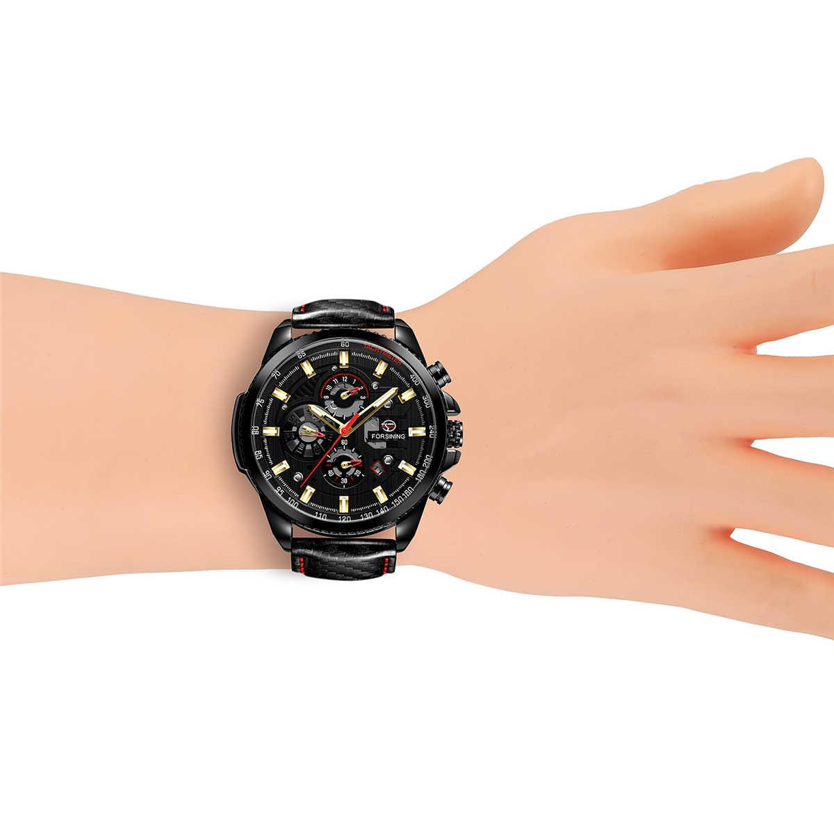 オリジナル Forsining ファッションメンズ腕時計トップブランド多機能自動腕時計メンズカレンダー防水機械式時計