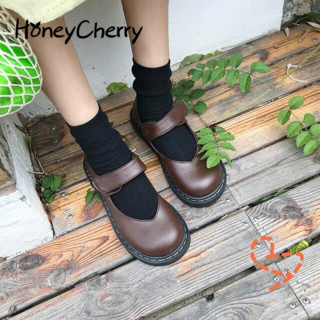 문학과 예술적 복고풍 여성 구두, 평평한 단독, 일본 단화, 낮은 위, 둥근 머리 대학 바람 가죽 신발