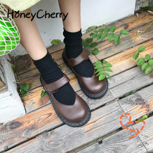 Edebi ve sanatsal Retro kadın ayakkabısı, düz taban, japon tek ayakkabı, düşük üst, yuvarlak kafa kolej rüzgar deri ayakkabı