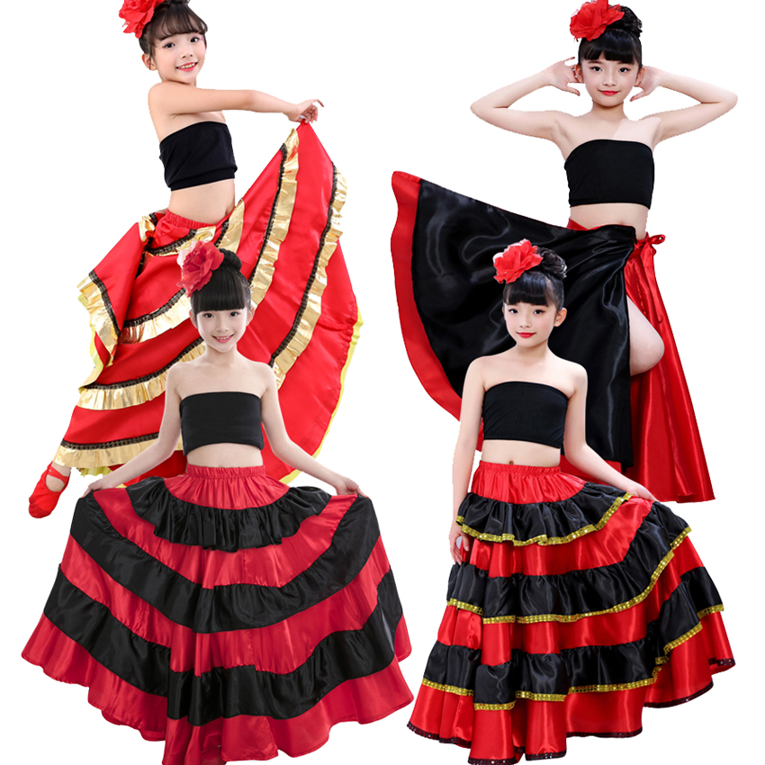 Children Flamenco Skirt Spanish Bullfighting Dance Dress Gypsy Performance Clothing Female Stage Wear Women Red Satin Costume