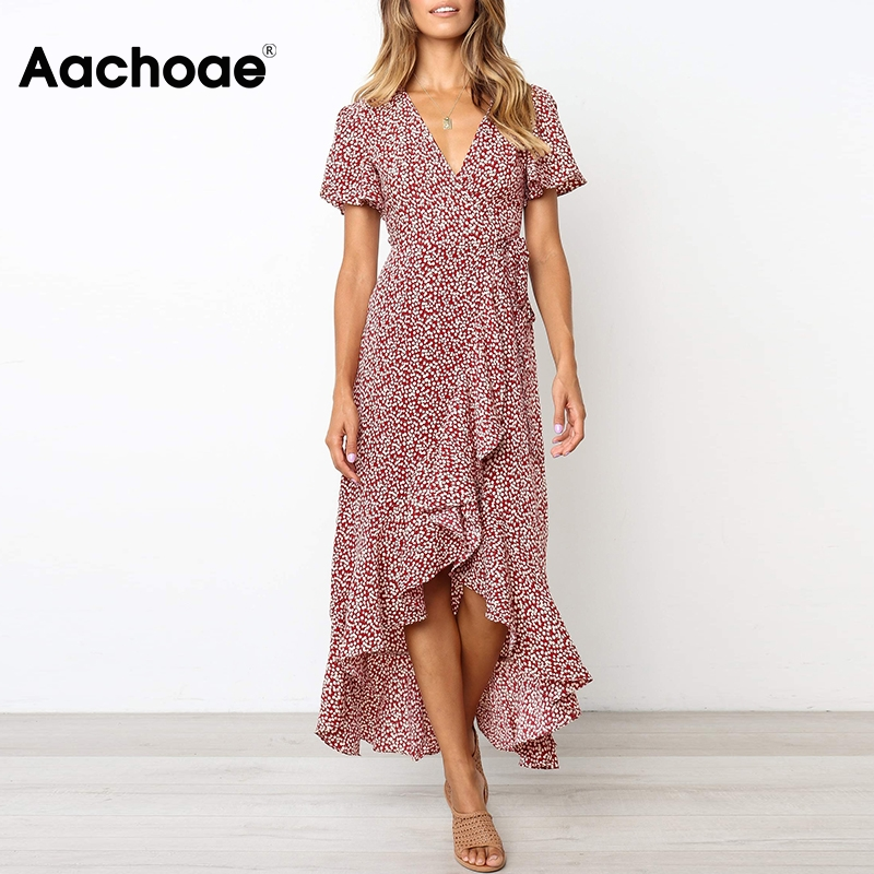 2020 Women Bohemian Floral Print Long Dress Sexy V Neck Wrap Split Beach Dress Short Sleeve Elegant Ruffle Maxi Dresses Vestidos