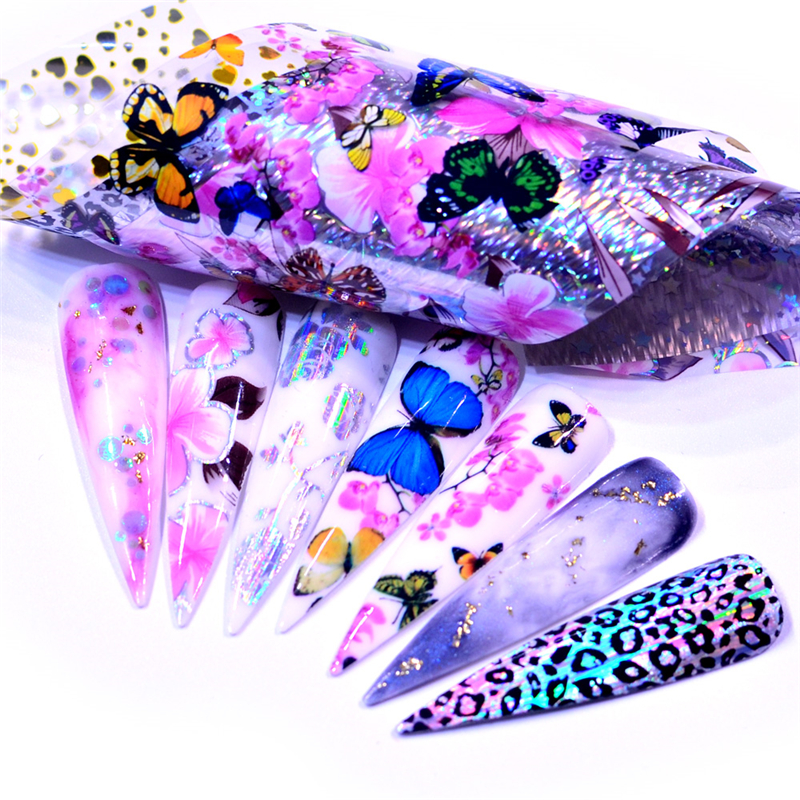 Flower Butterfly Nail Art Holographic Foil Decoration Wrap Transfer  Nail Art Foils Transfer Holographic Foil Sticker