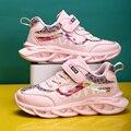 Obuwie dla dzieci ostrze trampki oddychająca siatka miękka moda dziecięce buty do biegania dziewczyny różowe antypoślizgowe buty sportowe w Trampki od Matka i dzieci na