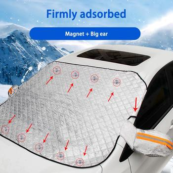 240*190cm Magnetic Car Windshield Snow Cover Tarp Winter Ice Scraper Frost Dust Guard Sunshade Protector Protector Heat Sun Mat 5