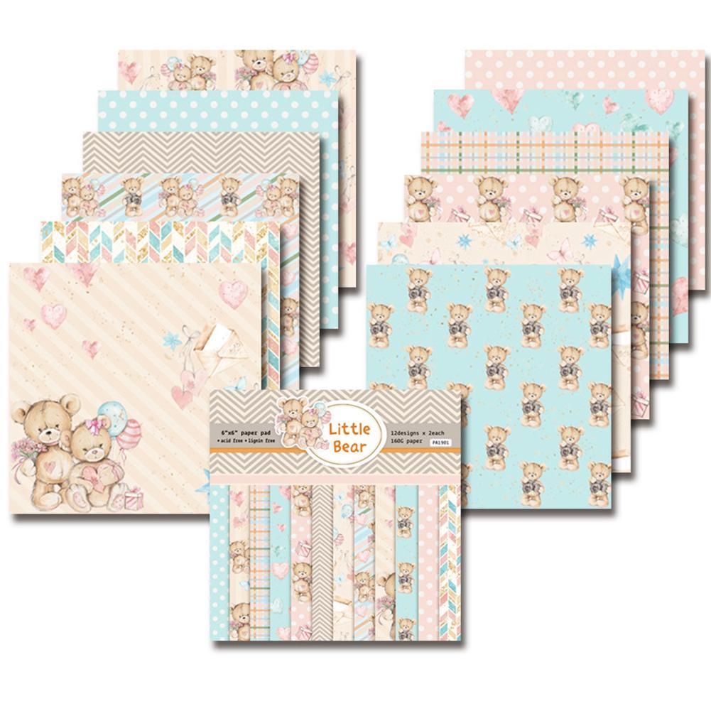 24PCS/Set Paper Craft DIY Photo Album Scrapbook Paper Account Card Making Background Paper 6 Inch Single-Sided Pattern Paper #EW