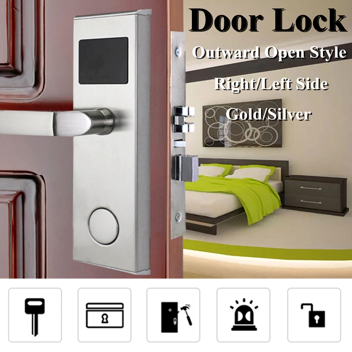 Safurance Digital Card Lock Security Intelligent RFID Digital Card Key Unlock Stainless Steel Hotel Door Lock System Door Locks