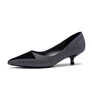 Image 5 - حجم كبير أحذية امرأة مطرزة القماش كريتال رقيقة عالية الكعب 3.5 سنتيمتر 2020 أحذية نسائية مكتب سيدة الوظيفي بوينت تو الانزلاق على الكعوب