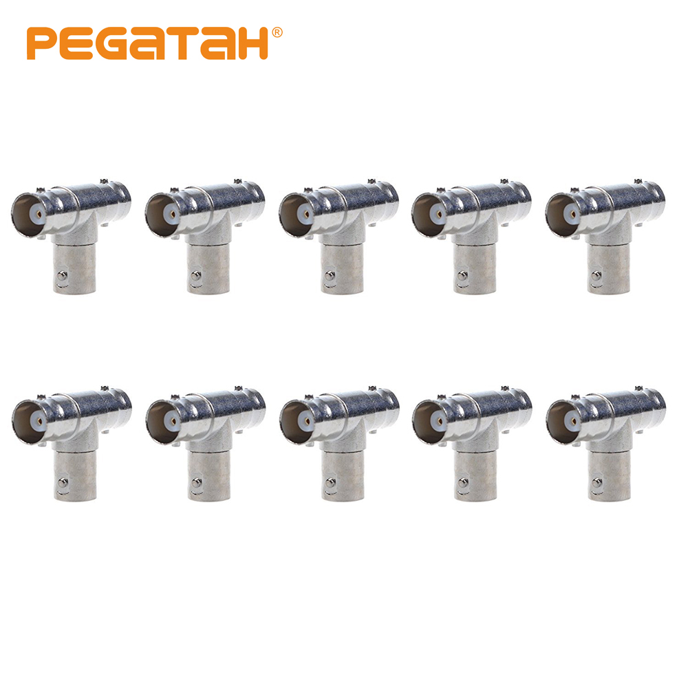 10pcs JR-B29 Right Angle Tee Security System BNC Connector Three Male Connector For CCTV System