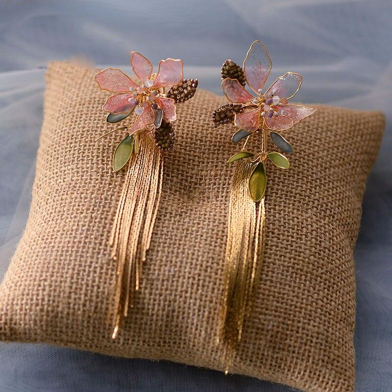 Boucles doreilles fleur rose pour femmes, Clip de mariage, accessoires de mariée, cadeaux danniversaire pour filles