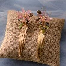 Boucles d'oreilles fleur rose pour femmes, Clip de mariage, accessoires de mariée, cadeaux d'anniversaire pour filles