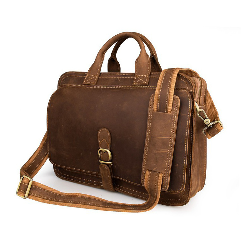 MAHEU Handmake Pure Leather Men Briefcase Bag Genuine Leather Daily Working Totes Doctor Office Man Business Bag Double Layer